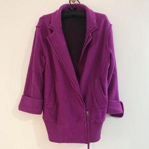 Free People Purple Boiled Wool Moto Jacket Medium